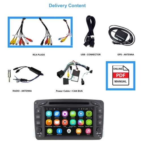 Mercedes Benz C Class CLK W209 W203 Android 8 GPS Navigation Headunit WIFI SD
