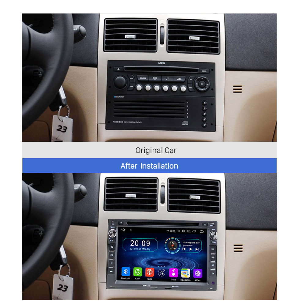 peugeot 207 307 android 8 autoradio touchscreen bluetooth. Black Bedroom Furniture Sets. Home Design Ideas