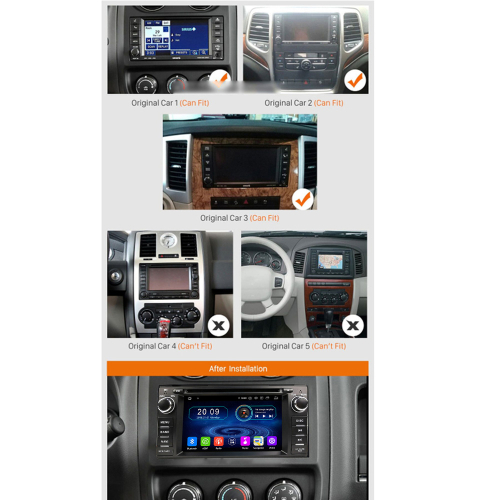 Chrysler Dodge Jeep Android 9 Touchscreen Headunit GPS Navigation WIFI  USB