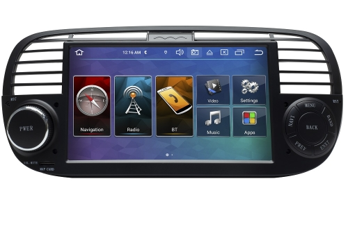 Fiat 500 Headunit Android 8 GPS Navigation Touchscreen DVD