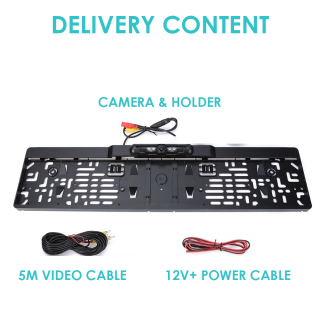 EU Plate Number Frame Front Camera or Rear Camera with Distance Warning